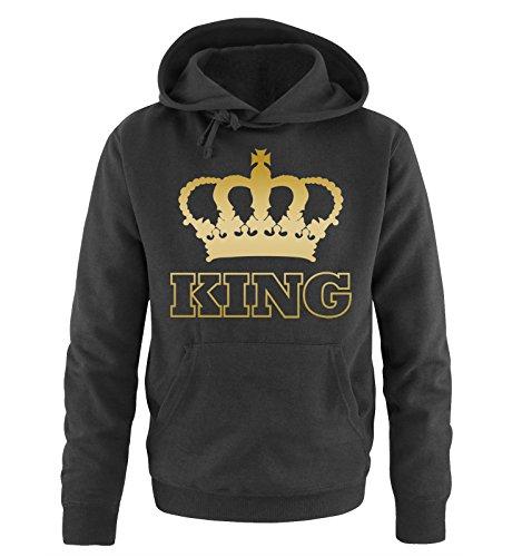 Comedy Shirts - King - Krone II - Herren Hoodie - Schwarz/Gold Gr. 4XL