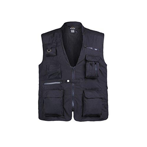 Mens Travel Fishing Hunting Camping Tactical Vest Safari Explorer Photographer Vest (Black,Size XL)