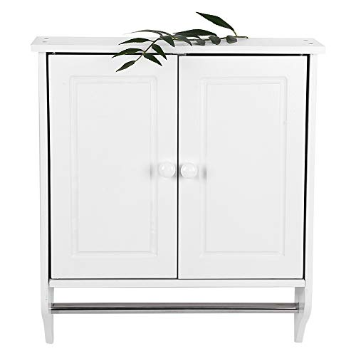 Zerone Wooden Bathroom Cabinet White Storage Wall Cabinet with a Stick Muilfunctional Towels Clothes Storage Cabinet for Batchroom Kitchen Laundry Organized