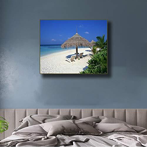 PLjVU Caligrafía en sillón en mar Tropical playalienzo de Pintura Decorativa-Sin marco40X50CM