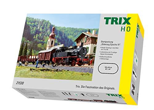 Märklin Trix 21530 Startpackung Güterzug Epoche III, Spur H0 Modelleisenbahn, mit Mobile Fahrregler und Schaltnetzteil und C-Gleis Schienen