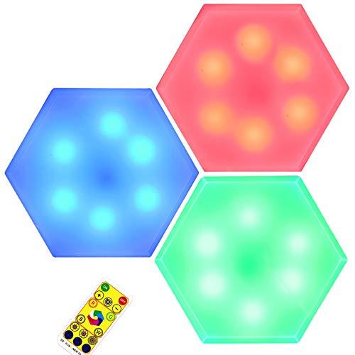 Luce LED Armadio, Glighone Luce Adesiva a Batteria Senza Fili Dimmerabile RGB Luce da Parete Bianca Calda 4000K con Telecomando Multicolore Lampada Notturna Ideale per Cucina Armadietto, 3 Pezzi