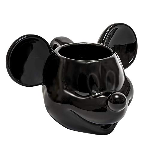 Joy Toy 62123 Mickey Mouse - Taza de cerámica 3D, 13,5 x 12 x 8,5 cm, color negro