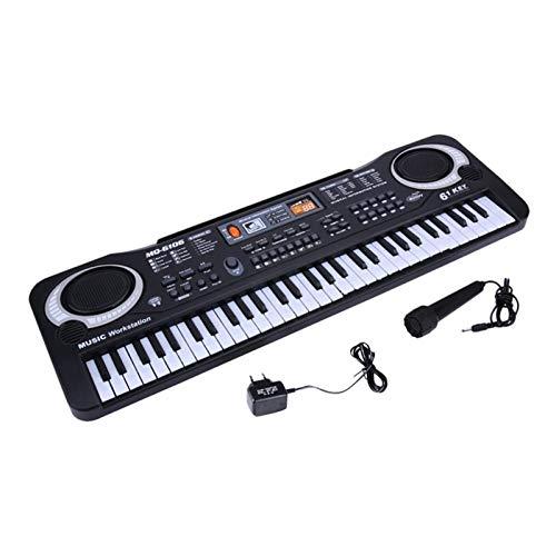 YSJJWDV Pianos Infantiles 61 Keys Digital Music Teclado electrónico Tablero Llavero Piano eléctrico Niños Regalo (Color : Black)