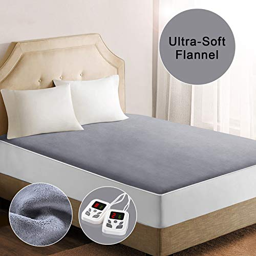 "Heated Mattress Pad Underblanket Soft Coral Velvet Fast Heating Digital Controller 10 Heating Levels & 9 Timer Settings Auto-Off Funtion Queen (60''×80"")"