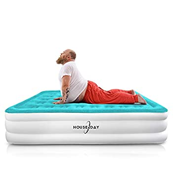 HOUSEDAY Queen Air Mattress with Built- Raised Electric Airbed with Built in Pump Fast Inflation Carry Bag Highest End Blow Up Bed Inflatable Air Mattresses for Home Travel Queen Matress 80 x60 x18