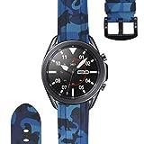 ESTUYOYA - Pulsera de Silicona Compatible con Samsung Galaxy Watch 3 45mm / Gear S3 Frontier/Classic/Camuflaje del Ejercito Tacto Suave Estilo Militar Correa 22mm - Azul