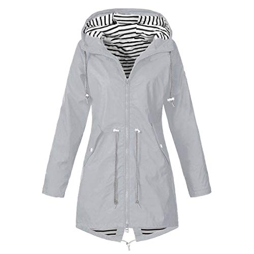 Kanpola Damen Regenjacke Wasserdicht Winddicht Regenmantel Übergangsjacke Einfarbig Hooded Jacke Windbreaker Winterjacke Funktionsjacke Outdoorjacke Outwear