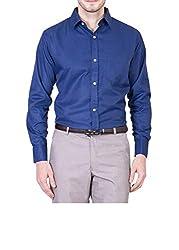 AKAAS Cotton Blend Full Sleeve Mens Formal-Shirt_Navy Blue