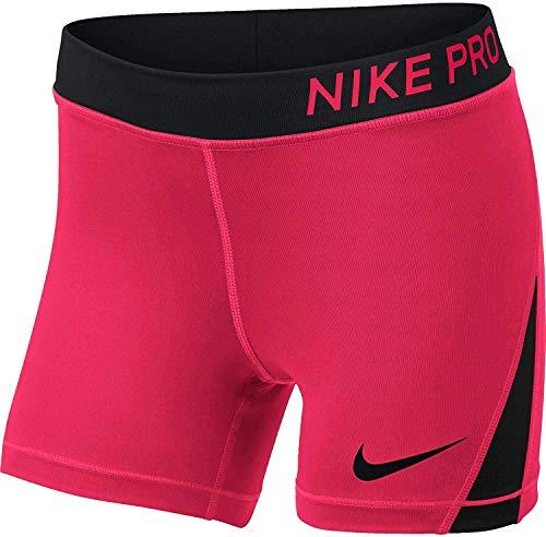 Mike Pro - Pantalones cortos de compresión para niña (poliéster), S, Racer Rosa/Negro/Negro