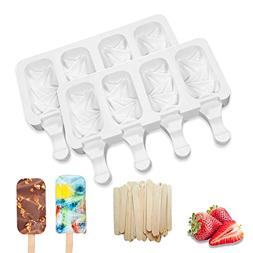 2 Pack Silicone Popsicle Molds, 4 Cavities Silicone Cakesicle Mold, Homemade Ice Cream Mold Baking Molds, Cake Pop Molds with 50 Wooden Sticks for DIY Ice Popsicle and Ice Cream