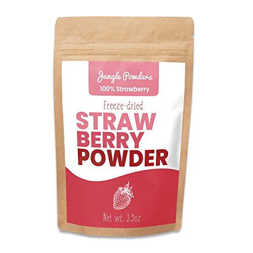 Jungle Powders Erdbeeren Pulver - 100g 100% natürlich, rotes Erdbeerpulver gefriergetrocknet – ohne GVO, Vegan - Super Food Erdbeerpulver zum Backen