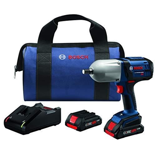 Bosch HTH181-B25 18V High Torque Impact Wrench w/Pin Detent w/ (2) 4.0 Ah CORE Compact Batteries