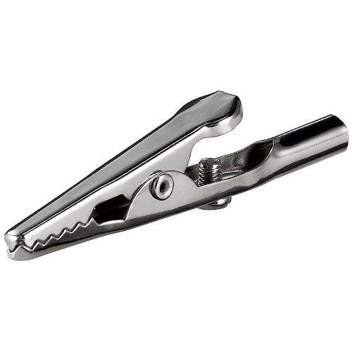 Constrabo® | 20x clips de cocodrilo con un tornillo y capuchón de bayoneta de metal | Hierro, niquelado | Longitud 51 mm | Apertura de mandíbula saliente para un agarre firme | Pinzas de cocodrilo