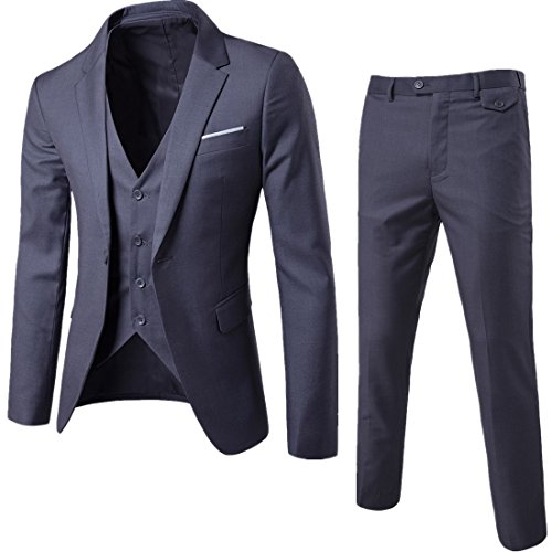 WEEN CHARM Men's Suits One Button Slim Fit 2-Piece Suit Blazer Jacket Pants Set White