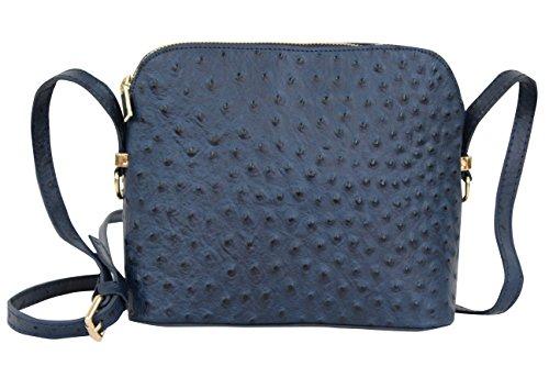AMBRA Moda Damen Handtasche Umhängetasche Leder Tasche klein SL702 (Marineblau)