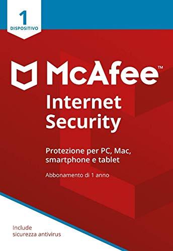 McAfee Internet Security 1 Dispositivo| Abbonamento di 1 anno | PC/Mac/Smartphone/Tablet |  Codice di attivazione via posta