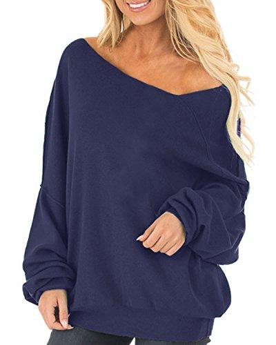 Auxo Auxo Damen Langarm Schulterfrei Jumper Lose Sweatshirt Pullover Oberteil Tops Hemd Oversize, 01-blau*, Gr.- S