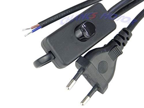 CHANCS Stromkabel Lampenkabel Inline-Netzschalter hat Knopfschalter, Stecker Länge 1,8 m Schwarz Standard-Flachdraht