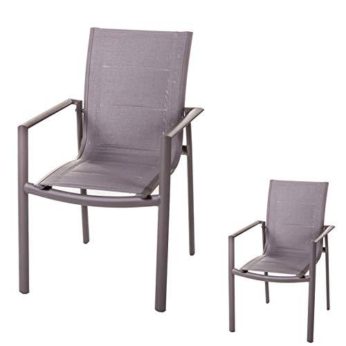 Tousmesmeubles Duo de Chaises à accoudoirs Aluminium/Textilène - Flores - L 57 x l 64 x H 89 - Neuf