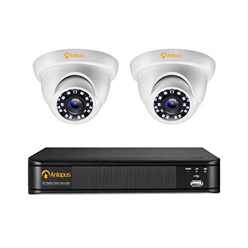 Anlapus 1080P Kit Videosorveglianza 4CH HDMI Videoregistratore con 2 Telecamere di Sorveglianza Esterno, senza Disco Rigido, Visione Notturna, Allarme di Movimento