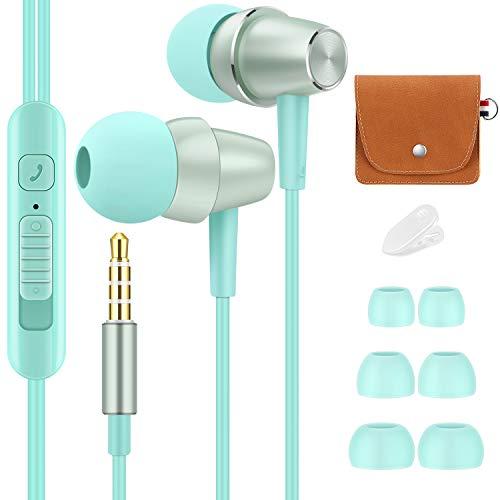 Bulees - Auricolari per bambini e bambini, con microfono e controllo del volume, piccoli auricolari per iPhone 6/6s, smartphone Android, lettori MP3 (blu)