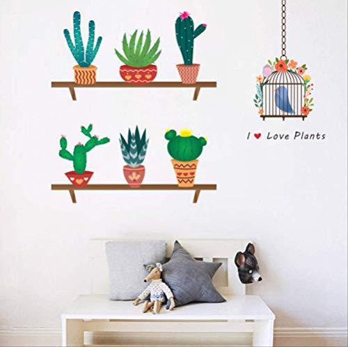 Muurstickers Creatieve Cactus Bloempot voor Woonkamer Bed Decoratie Home Decals DIY Plant Pastorale Mural Art