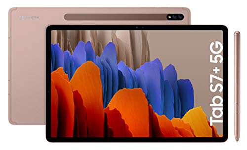 Samsung Galaxy Tab S7+ - Tablet de 12.4' QHD (5G, Procesador Qualcomm Snapdragon 865 Plus, RAM de 6GB, Almacenamiento de 128GB, Android 10, S Pen incluido) - Color Bronce [Versión española]