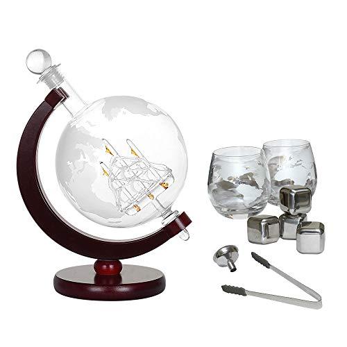 Nandae Decantador de Globo de Whisky con 2 Vasos de Globo Grabados y 4 Piedras de Whisky, Embudo de vertido fácil y antigüedad de Pinza de Hielo, decantador de Vino para velero, Capacidad de 1000 ml