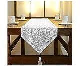 Camino de mesa de lentejuelas de 30,5 x 210 cm, camino de mesa redondo con purpurina, camino de mesa plateado para mesa de café, camino de mesa de 210 cm, decoración de boda