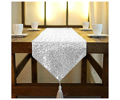 ShinyBeauty Table Runner Silver Tassel 12x90-Inch Sequin Table Runner Wedding Decor Silver Parties Supplies Dining Table Centerpiece Runner 90 Inches Linen Runners For Tables