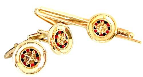 Unbekannt Roulette Manschettenknöpfe Krawattennadeln goldfarben rot schwarz m.i. Germany + Setbox