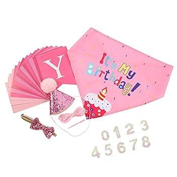 FANTESI Lot de 5 bandanas, chapeau, bandana, banderoles, triangles, écharpes, fêtes d'anniversaire pour petits chiens et chats (rose)