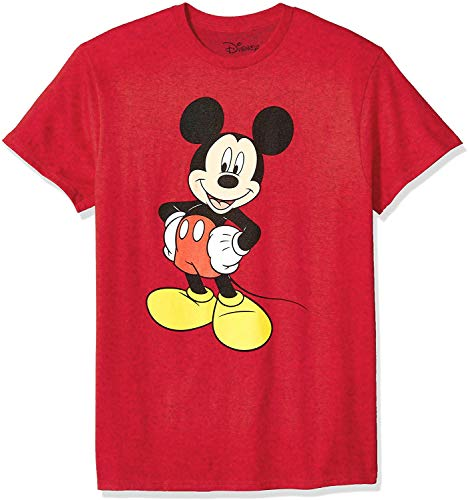 Disney Mickey Mouse Men's Mickey Mouse Funny Graphic Classic Disneyland T-Shirt, red Heather, Large
