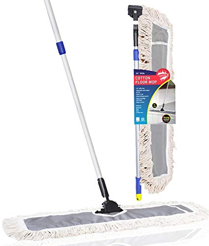 """IRONGECKO Premium 24-inch Industrial Class Cotton Wide Dust Mop Head Telescopic Pole Height Max 61"""" 