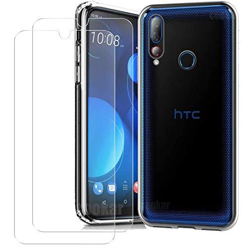 cookaR Crystal Clear HTC Desire 19+ Hülle+[2 Stück] HTC Desire 19+ Panzerglas Schutzfolie,Silikon TPU Handyhülle Schutzhülle Hülle Superdünn Soft Cover -Transparent