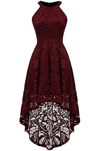 MisShow Abendkleid Kurz Neckholder Kleid Vorne Kurz Hinten Lang Cocktailkleid Festliches Spitze Kleid S-XXL …