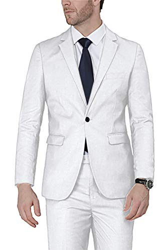 YFFUSHI Mens 1 Button 2 Piece White Tuxedo Shawl Collar Skinny Dress,White,Bust(Jacket) 42 Waist(Pants) 32