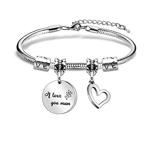 Mum Bracelets Adjustable Heart Pendant Bracelets for Mother Mum Mama Mummy from Daughter Son for Christmas Birthday Mother's Day