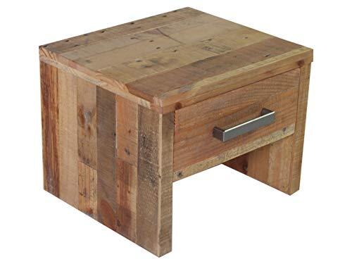 Woodkings® Nachttisch Albury Natur Schlafzimmer Massivholz Beistelltisch Nachtkommode Design Massive Naturmöbel Echtholzmöbel günstig (Rec. Pinie)