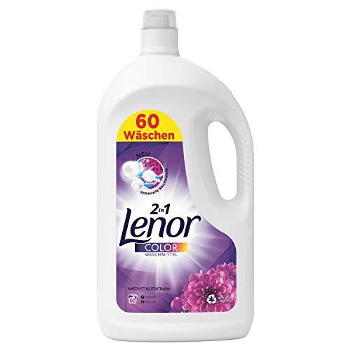 Lenor Waschmittel Flüssig, Flüssigwaschmittel, Color Waschmittel, Farbschutz, Amethyst Blütentraum, 60 Waschladungen (3.3 L)