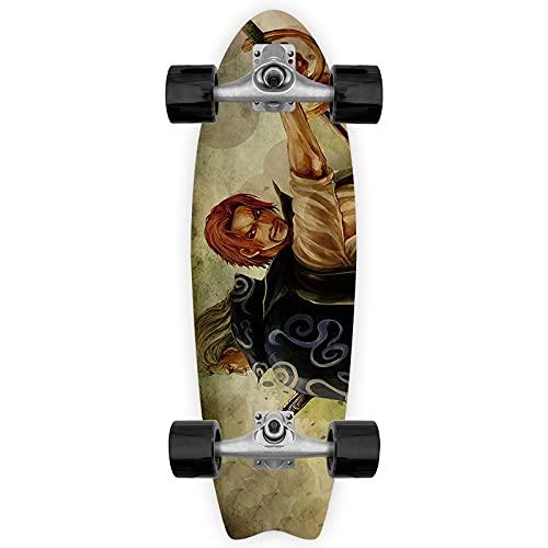 Cnlololog Monopatín de una sola inclinación Vástagos plateados Rayleigh Antiguo asistente del capitán Tail Fish Skateboard UNA PIEZA Anime Fish Board Tabla de surf de tierra Principiante skateboard Ma
