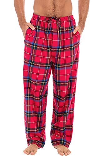 Alexander Del Rossa Men's Lightweight Flannel Pajama Pants, Long Cotton Pj Bottoms, XL Red Block Blue Plaid (A0705R88XL)