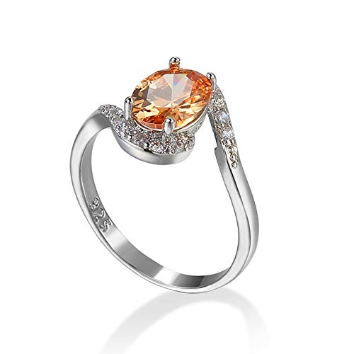 Daesar Engagement Ring for Her, Plated White Gold Ring for Women 18ct Classic Champagne Oval Shape Cubic Zirconia Ring Size L 1/2