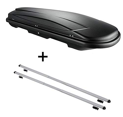 VDP Dachbox VDPJUXT500 500Ltr abschließbar schwarz + Dachträger Rapid kompatibel mit Nissan Qashqai (J11) (5Türer) ab 14
