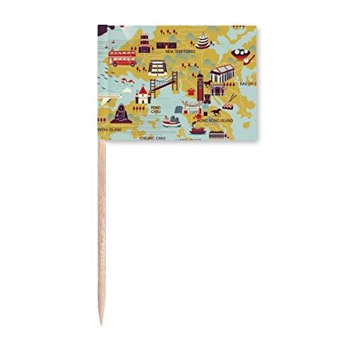 Hong Kong Mapa turístico de China banderas de palillo de dientes marcador para decoración de fiesta