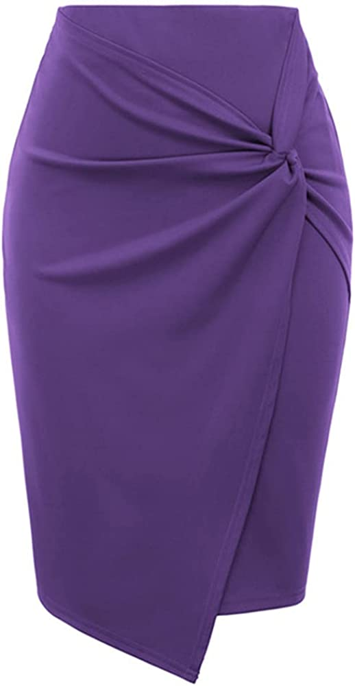 NP Women's Skirts Color Asymmetrical Wrap Front Stretchy Bodycon Skirt Summer Slim