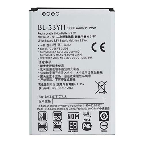 Batería de Iones de Litio Duradera Segura de Larga duración 3000mAh / 11.2wh BL-53YH para LG G3 G 3 VS985 F400 D850 D855 D830-White