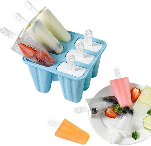 HOMGREEN Moldes para paletas de silicona moldes de hielo 6 piezas de molde de paletas sin BPA Molde de paletas reutilizable de liberación simple (Biue)