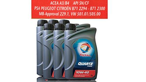 6 liter motorolie TOTAL QUARTZ 7000 10W-40